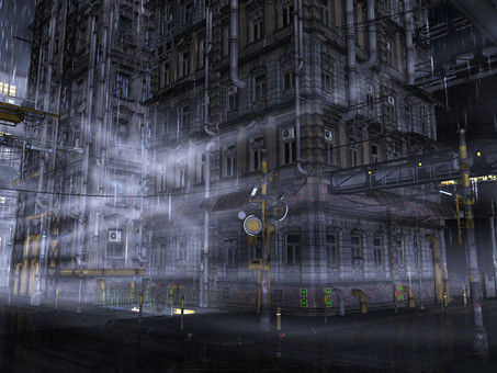 Building town of rain and fog