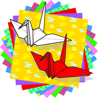 Red and white paper cranes