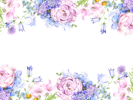 Flower frame 213 - Big ornamental frame of large pink roses