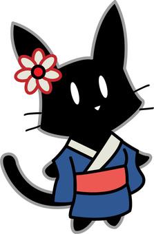 Black cat in a kimono