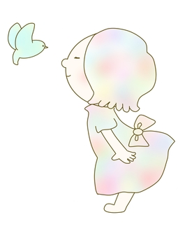 Bird and girl pastel