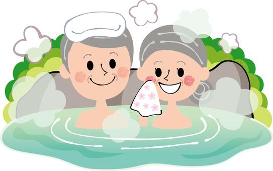 老年夫婦進入家庭溫泉