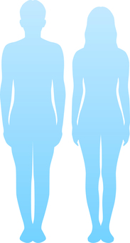 Body line _ silhouette _ men and women _ light blue