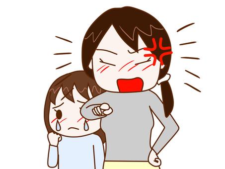 尖叫的母親和哭泣的女兒