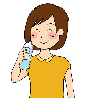 A woman smiling and drinking water