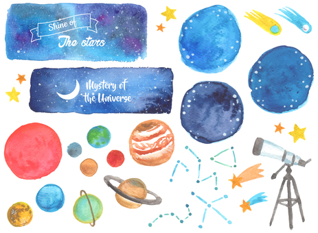 Watercolor material set of the universe