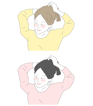 Tying her hair (a woman with long hair)