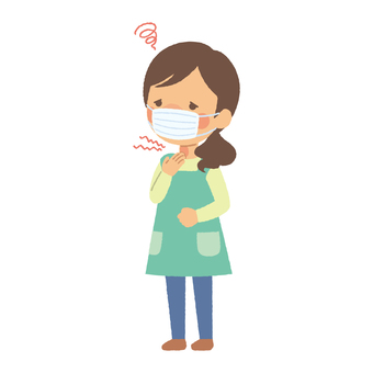 Woman in apron mask has sore throat
