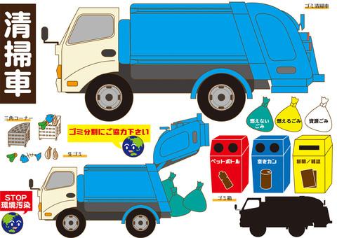 Various garbage trucks