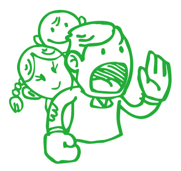 Hand-painted _ Shouting family _ Green