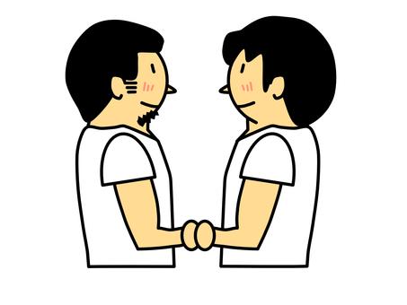 Same sex couple (men) holding hands