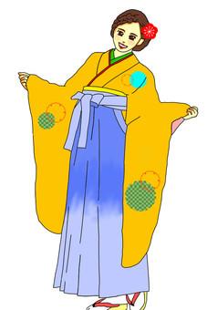 畢業典禮Hakama大袖毛衣橙色雪圈