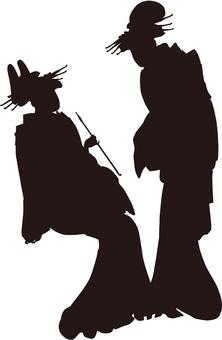 Ukiyo-e character silhouette part 154