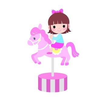 A girl in a merry-go-round (peach)