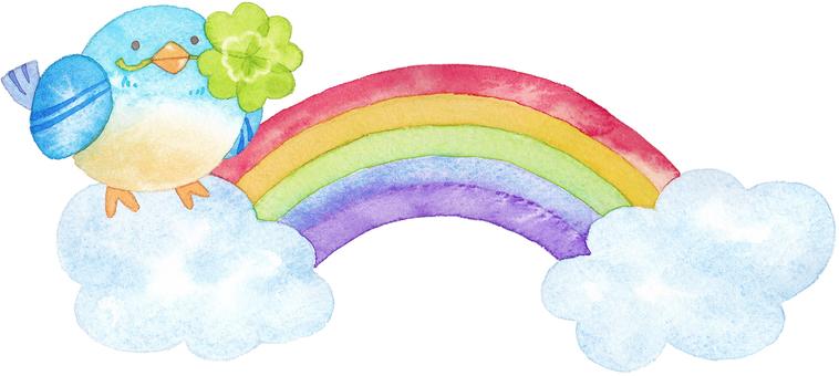 A blue bird and a rainbow
