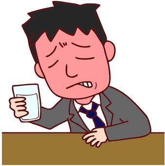 Illustration of a drunk office worker