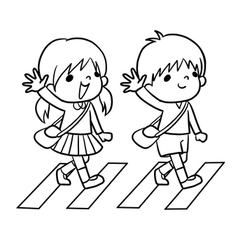 Traffic safety Children drawing painting across the pedestrian crossing