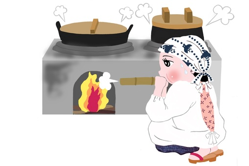 Mom cooking in the furnace
