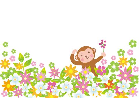 A monkey of a flower garden