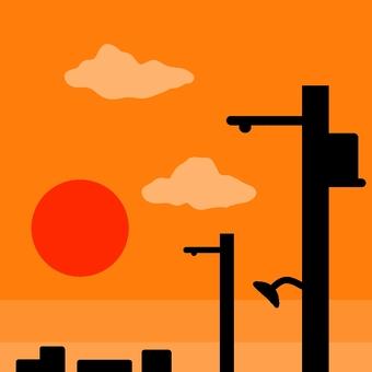 夕焼け電柱
