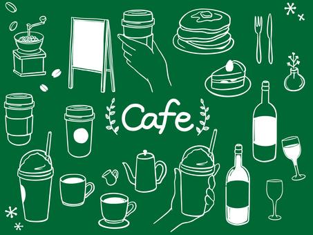 カフェ おしゃれ 手描き 素材セット1
