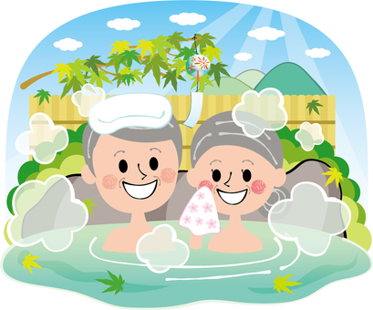 Summer fresh green autumn leaves elderly people couple hot spring open-air bath with rocky sky