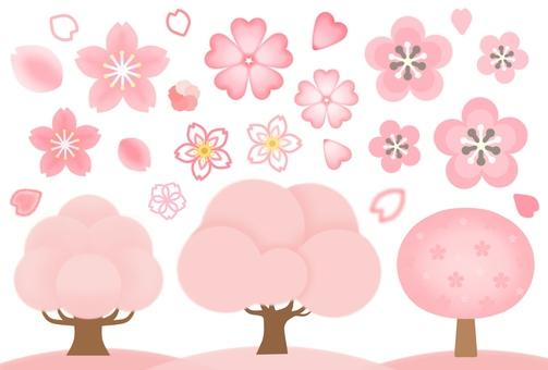 Sakura and peach blossom material set