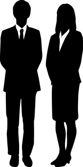 Business man_silhouette_man and woman_black