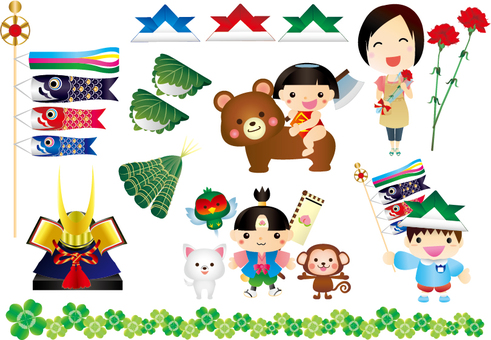Illustrations in May Mother's Day Children's Day