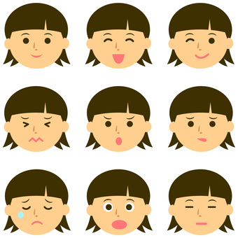 Various expressions of pretty girls