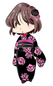 Roses Pattern kimono girl