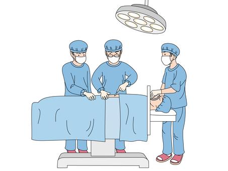 Doctors under surgery