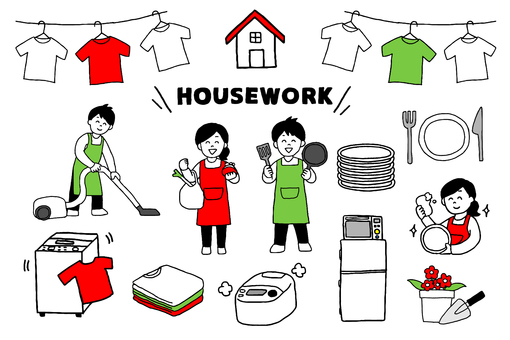 Set of men and women to do housework (simple)
