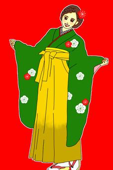 畢業典禮Hakama Green Dressing plum plum