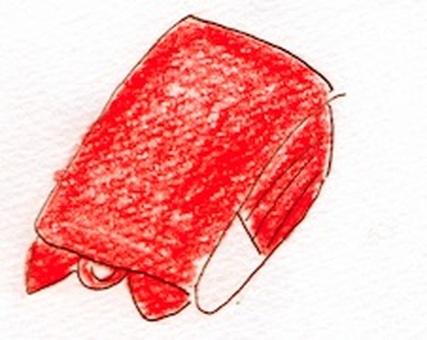 A fallen red school bag