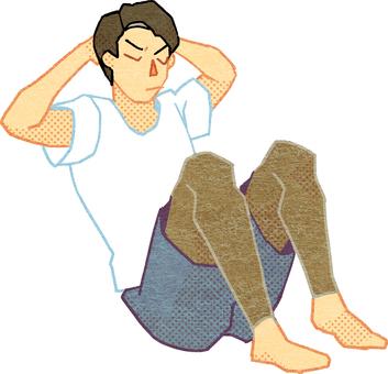 一個人在做仰臥起坐的插圖