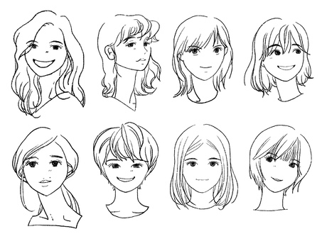 Women icon pencil line drawing 8 people