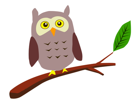 Owls and tree branches and leaves