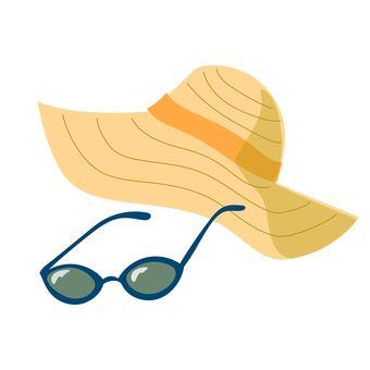 밀짚 모자와 선글라스 파랑