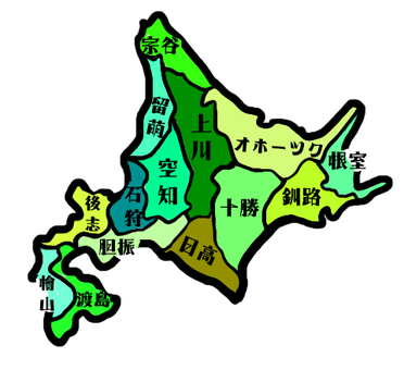 Hokkaido colored place name entry map