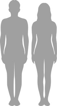 Body line _ silhouette _ men and women _ gray