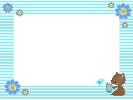 Kuma-chan message card blue