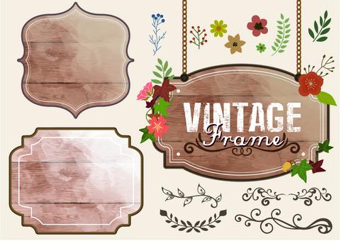 Vintage wood frame frame