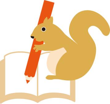 다람쥐와 연필과 노트