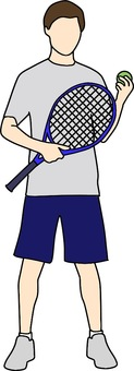Male color playing tennis