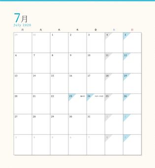 Simple calendar July 2020