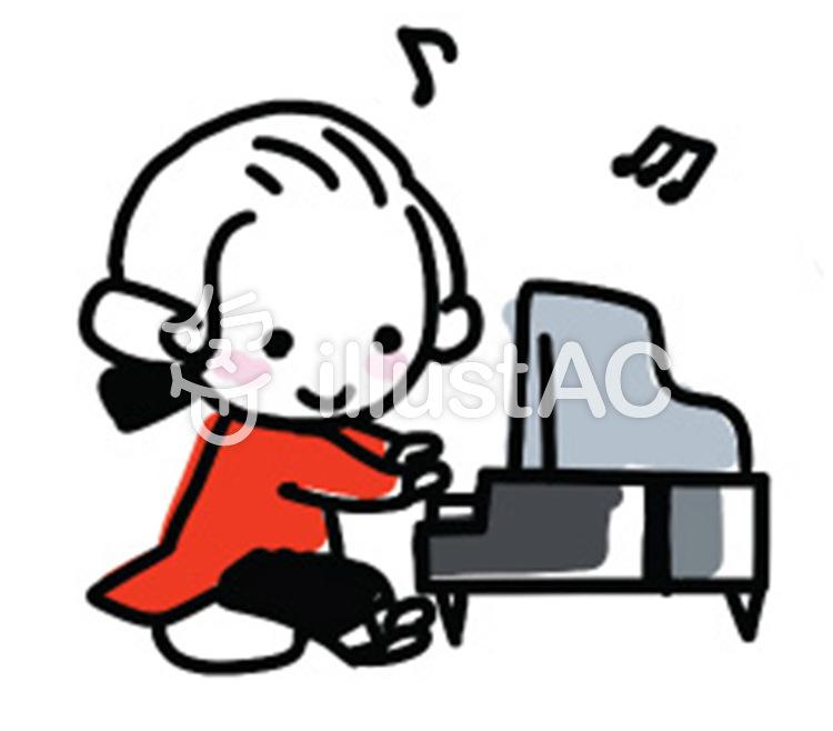 ミニピアノを弾くモーツァルト風の男の子イラスト No 811424無料