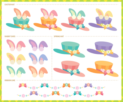 Rabbit ear hat easter illustration material