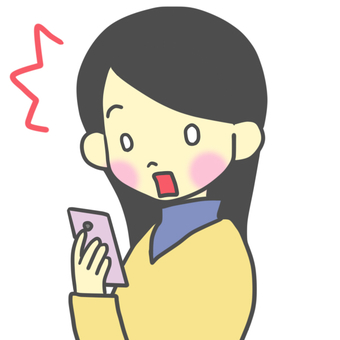 A woman surprised to see a smartphone