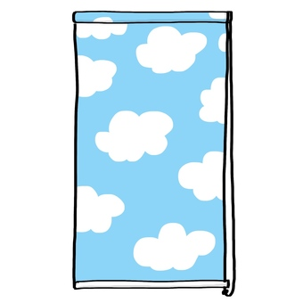 Roll screen sky blue · hand-painted illustration